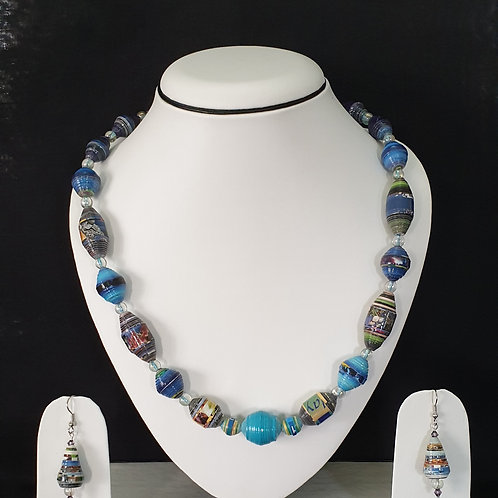 Sea Blue Beads Set with Earrings