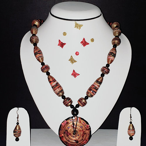 Neck piece set of brown beads and large disk pendant with matching ear rings