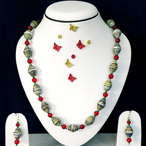 Neck piece set of green and red beads  with matching ear rings