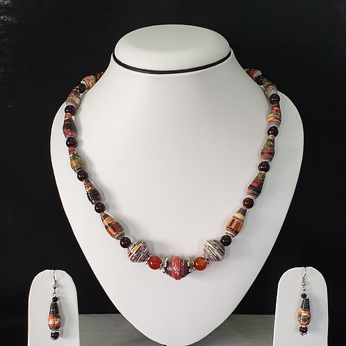 Neck Piece Set of Round and Cone Shaped Beads with matching Earrings