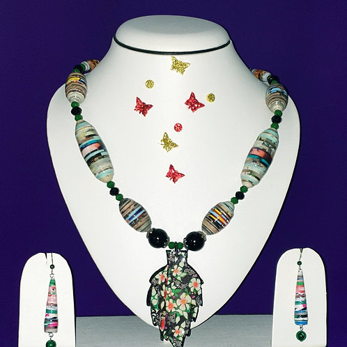 Neck piece set of green oval beads  and large leaf pendant