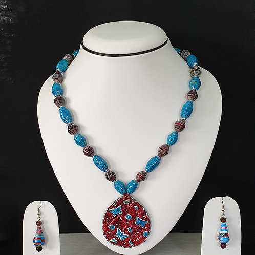 Neck piece set of Blue beads and large pendent with matching ear rings