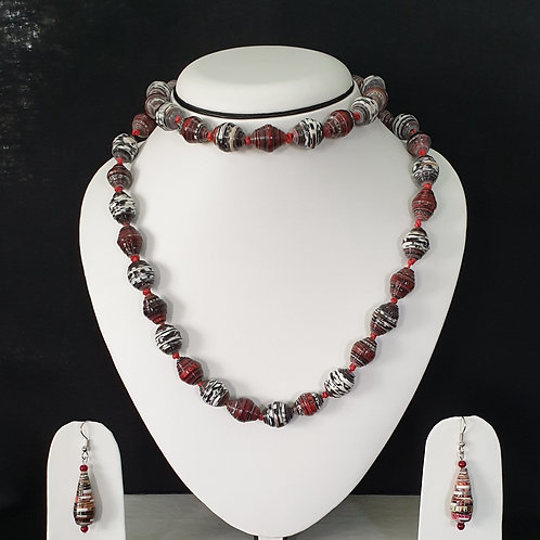 Red and White Oval Shaped Beads with Drop Earrings