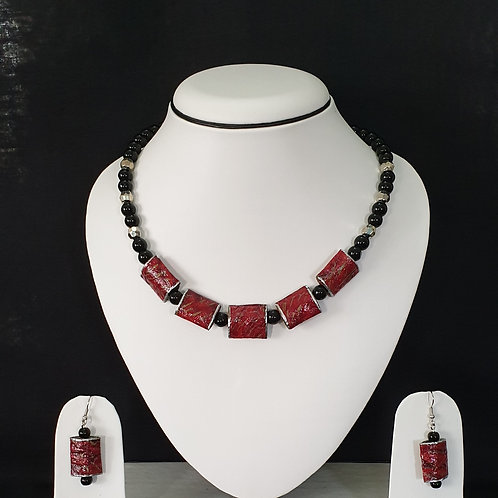 Short Red Box Beads with Similar Earrings