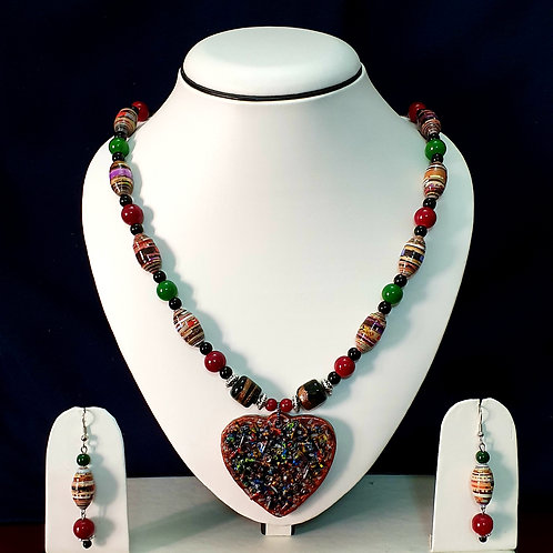 Multi Colored Medium Set with Heart Shaped Pendant