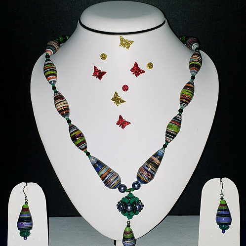 Neck piece set of multicolour cone beads and pendant with matching ear rings
