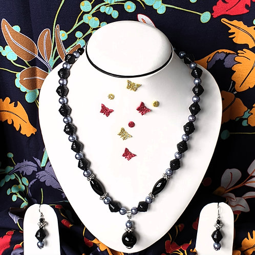 Neck piece set of black and silver beads with matching ear rings