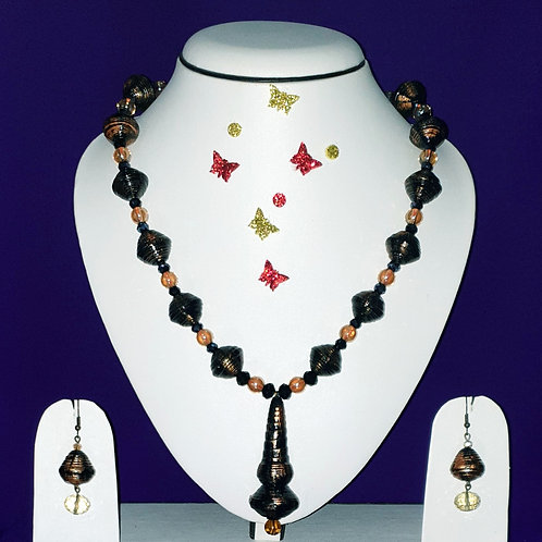 Neck piece set of green disk beads with matching ear rings