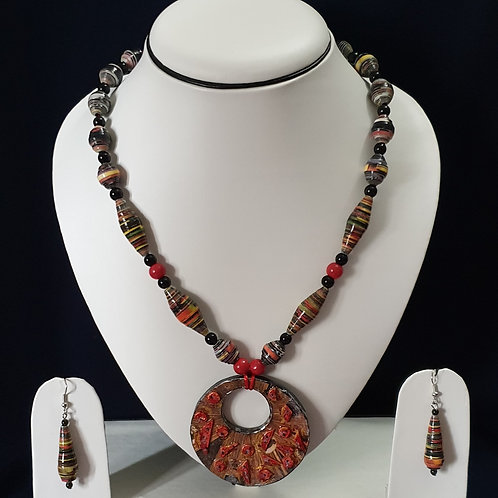 Peach Red Long Set With Large Disk Pendant