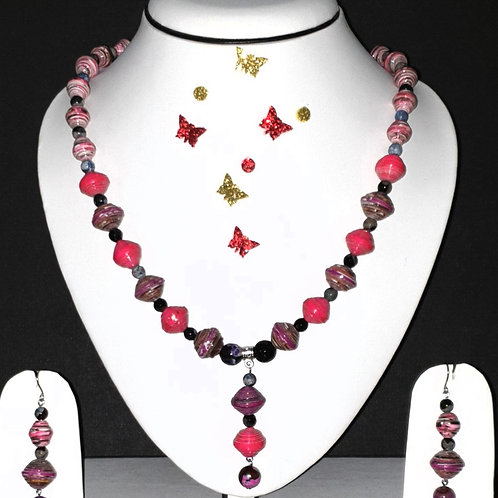 Neck piece set of pink beads and drops pendant with matching ear rings