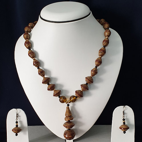 Complete Brown Set with Disk Beads and Earrings