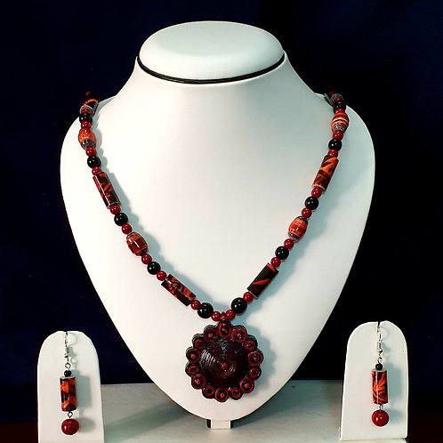 Red & Black Set with Disk Pendant and Matching Earrings