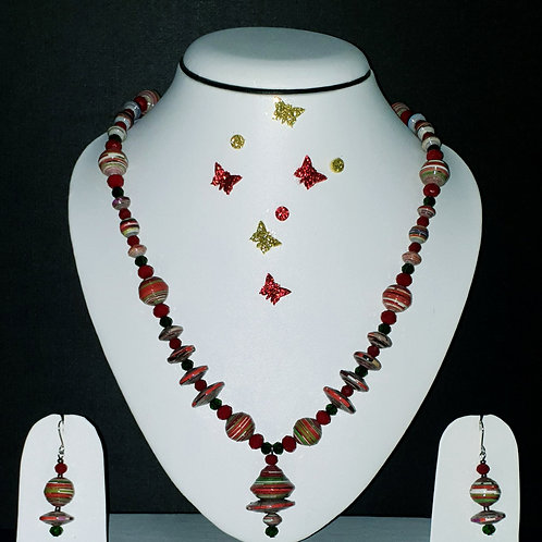 Neck piece set of red and brown disk beads with matching ear rings