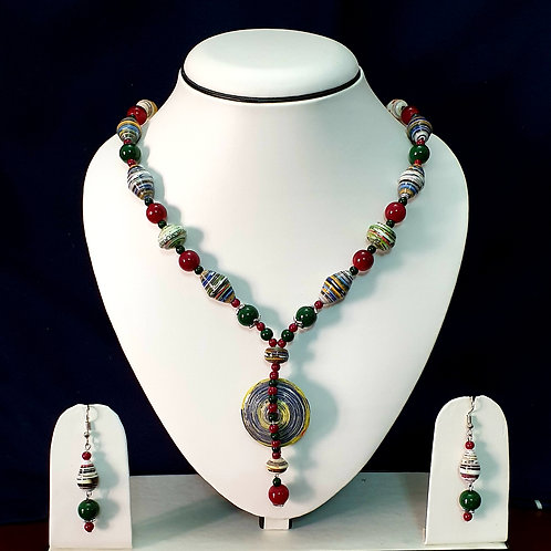 Red & Green Set with Brown Disk Pendant