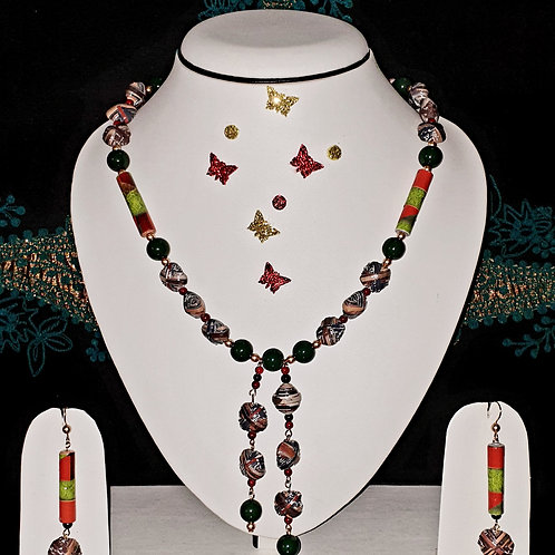 Neck piece set of multicolour multi design beads with matching ear rings