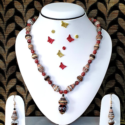 Neck piece set of brown and red beads  with matching ear rings