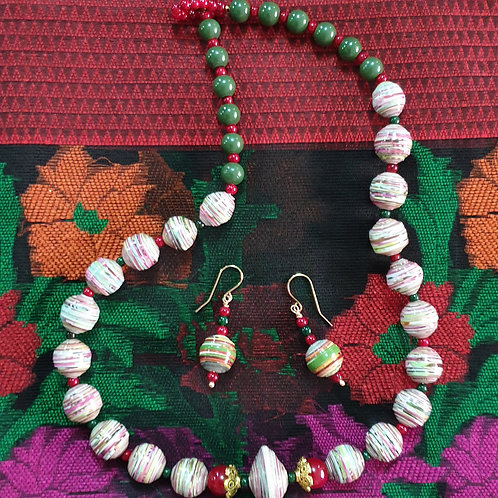 Neck piece set of multi colour round beads with mathing ear rings
