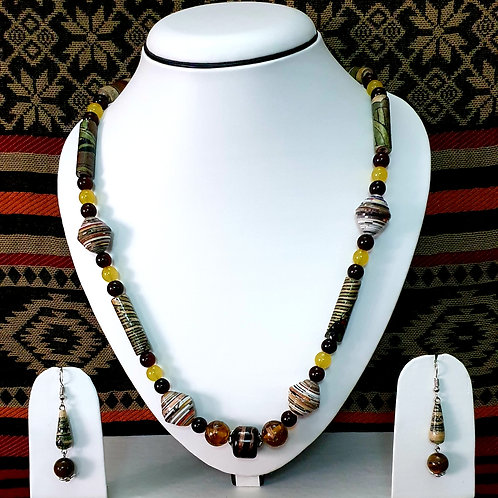 Long Beads with Dark Tonnes Set and Drop Earrings