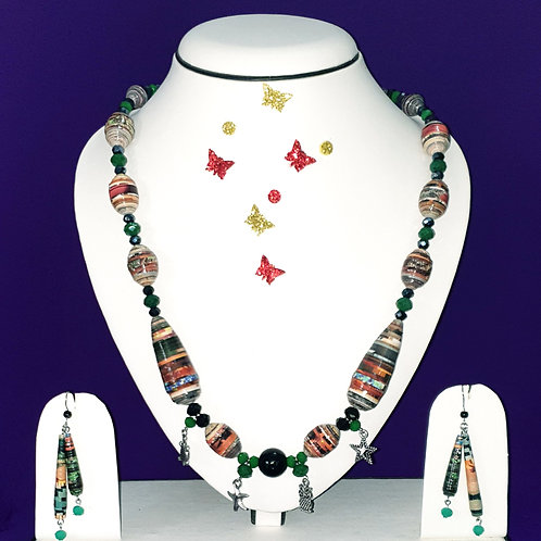 Neck piece set of multi colour multi design beads with matching ear rings