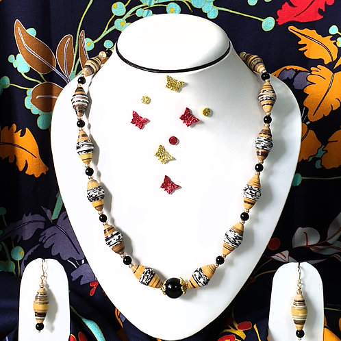 Neck piece set of yellow and red beads with matching ear rings