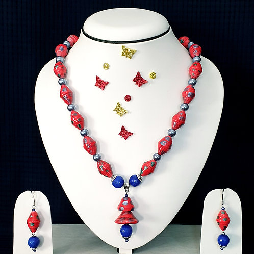 Neck piece set of pink and blue beads  with matching ear rings