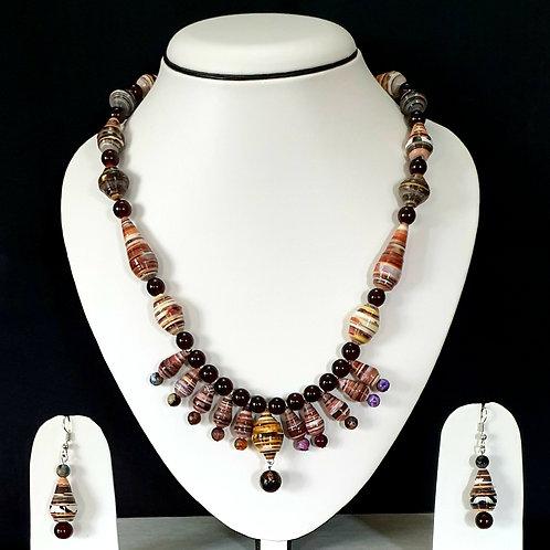 Brown & Black Tonnes Multi Bead Pendant Set