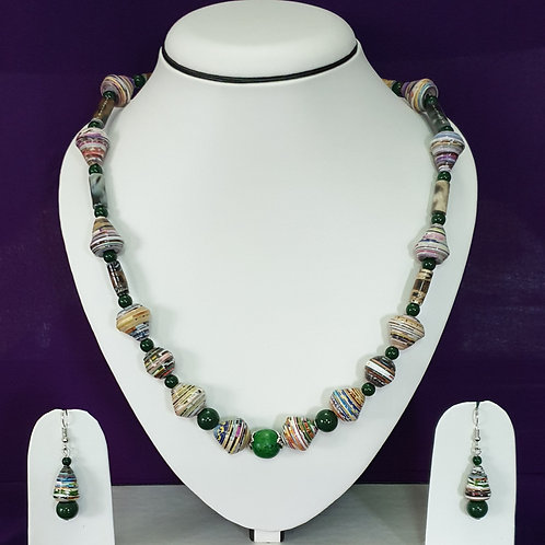 Green Round Beads Set with Matching Earrings