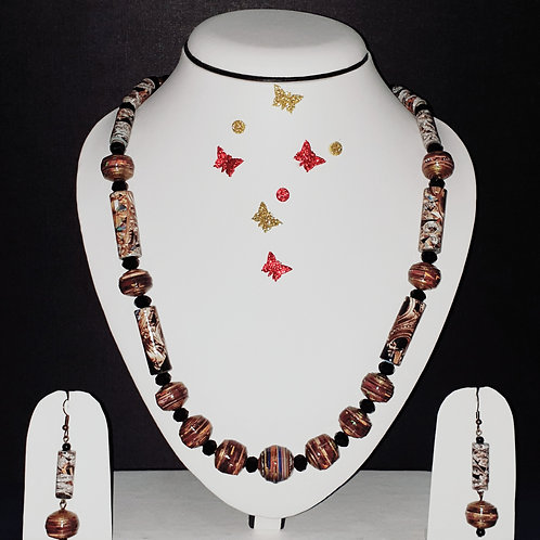 Neck piece set of brown round and roller beads  with matching ear rings