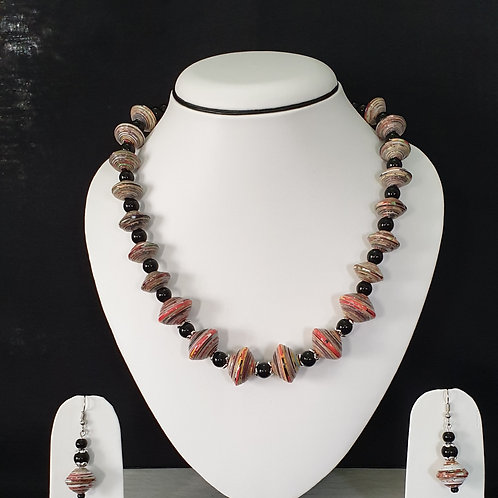 Neck piece set of pink and light cream disc beads with matching ear rings