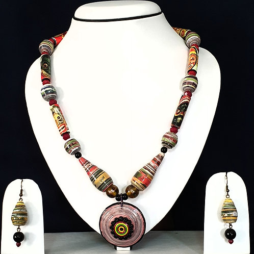 Bright Colored Set with Disk Pendant