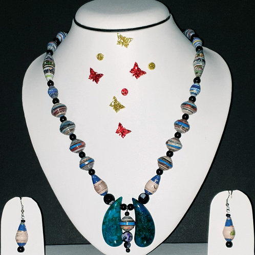 Neck piece set of multiclour beads and turquoise pendant with matching ear rings