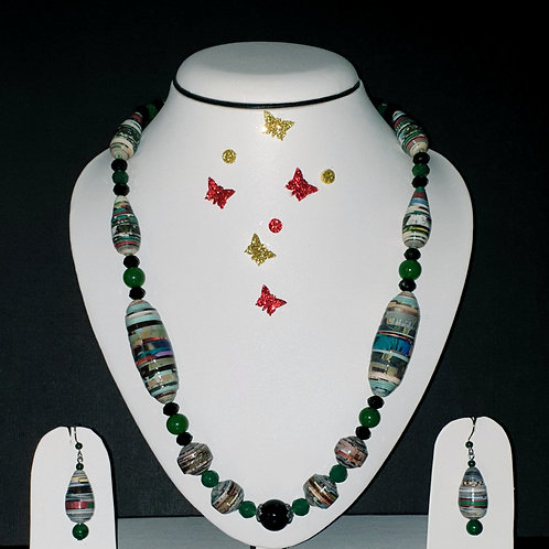 Neck piece set of oval and round green beads with matching ear rings