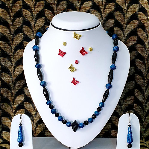 Neck piece set of blue beads  with matching ear rings