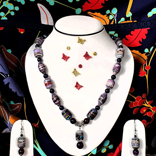Neck piece set of multi colour beads with drop ear rings