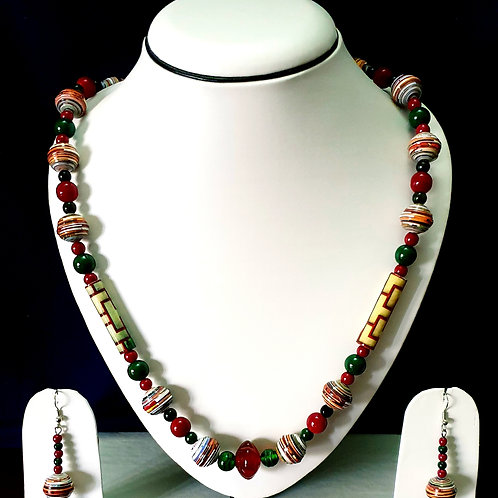 Multi Colored Long Beads Set with Long Drop Earrings