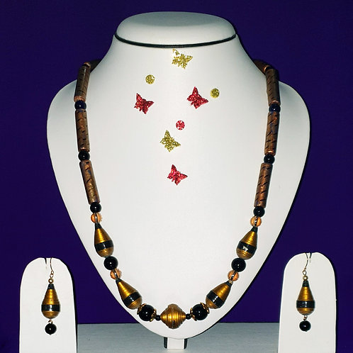 Neck piece set of golden cone and tube beads with matching ear rings
