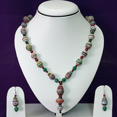 Red & Green Long Pendant Set with Matching Earrings