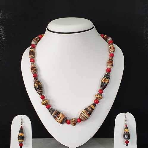 Brown & Red Colored Long beads Set with Long Drop Earrings