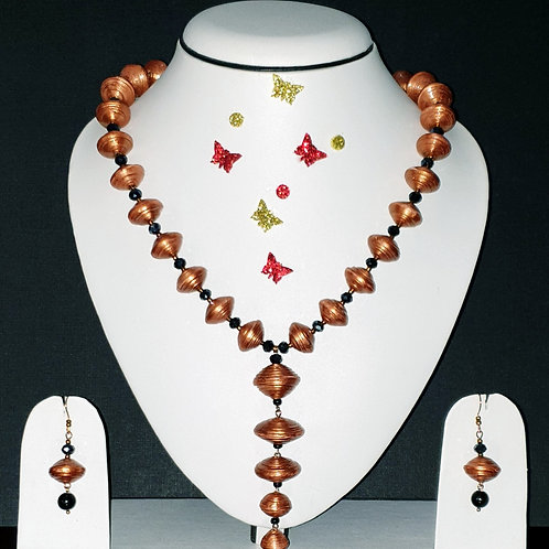 Neck piece set of  golden brown disk beads with hanging pendant