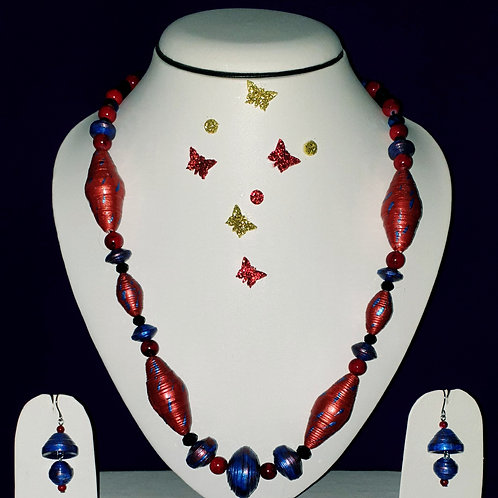 Neck piece set of red cone beads and blue spacers with matching ear rings
