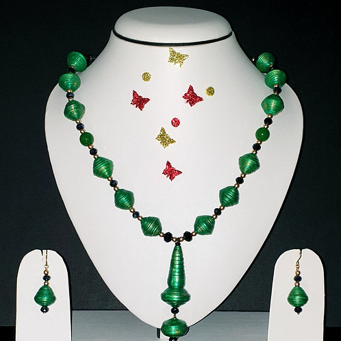Neck piece set of  green bicone  beads with matching ear rings