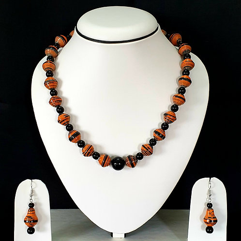 Brown & Black Round Beads Short set with Matching Earrings