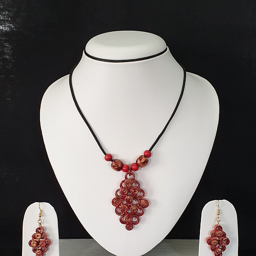 Cherry Red Simple Set with Matching Earrings