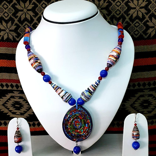 Blue Overtones Conical Beads & Oval Pendant Set