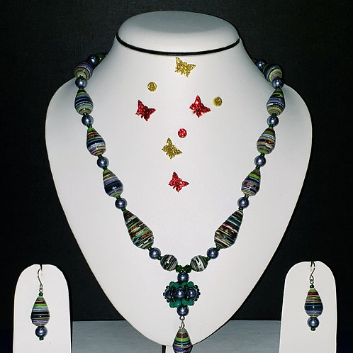 Neck piece set of green and blue cone beads with matching ear rings