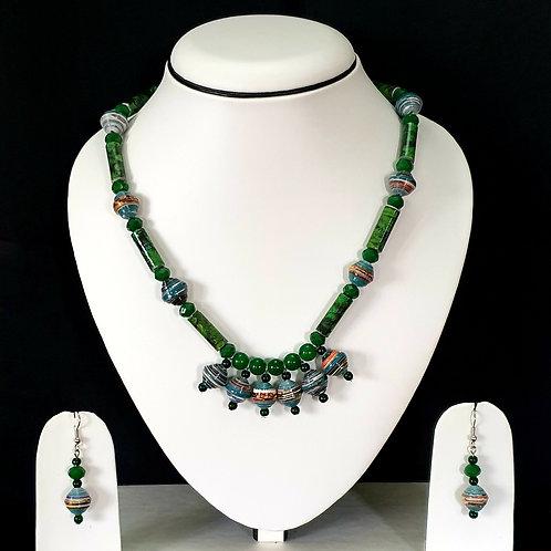 Dark Green Beads Short set with Matching Earrings