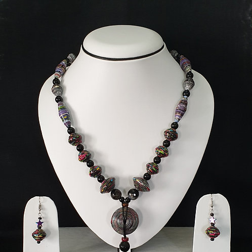 Neck Piece Set of Disc Shaped Beads and Long Beads with Matching Earrings