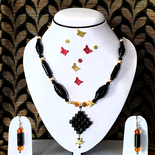 Neck piece set of black beads  with matching ear rings