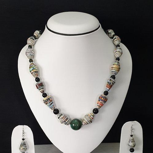 White Undertone Beads with Emerald Round Center Bead Set