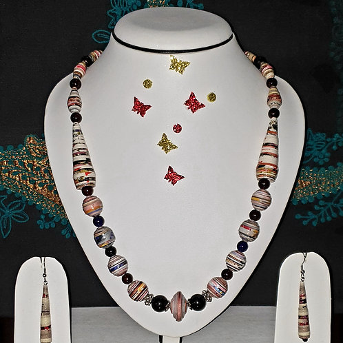 Neck piece set of multicolour round and cone beads with matching ear rings
